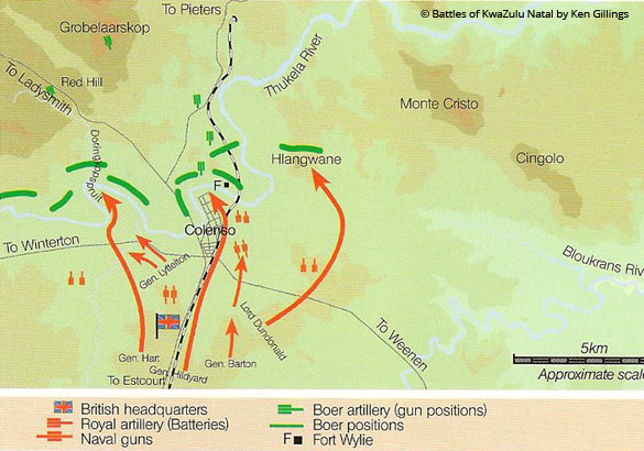 Battle of Colenso Battle of Colenso 15th December 1899 Gun Sites Battlefields Route